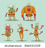 funny aliens set  | Shutterstock .eps vector #306531539