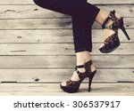 vintage women wearing high heels | Shutterstock . vector #306537917