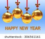 golden christmas balls with... | Shutterstock . vector #306561161