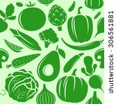 vector vegetables seamless... | Shutterstock .eps vector #306561881