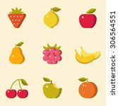 fruit icons  flat design ... | Shutterstock .eps vector #306564551