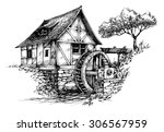 old water mill sketch | Shutterstock .eps vector #306567959