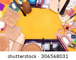 different makeup cosmetics and... | Shutterstock . vector #306568031