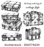 suitcases and bags icon set ... | Shutterstock .eps vector #306574634