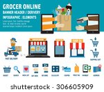 grocery online.delivery.... | Shutterstock .eps vector #306605909
