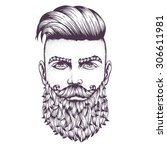 hand drawn portrait of bearded... | Shutterstock .eps vector #306611981