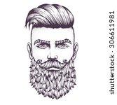 hand drawn portrait of bearded... | Shutterstock .eps vector #306611981