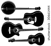 Acoustic guitars and banjo in detailed vector silhouette.  Set includes a variety of body styles for any type of music. - stock vector