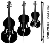 Stringed instruments in detailed vector silhouette.  Set includes violin, viola, cello, upright bass, and bow. - stock vector