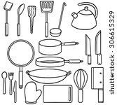 vector set of kitchen tool | Shutterstock .eps vector #306615329