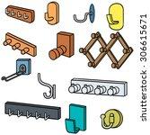 vector set of wall coat rack... | Shutterstock .eps vector #306615671