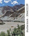 rafting on the zanskar river  ... | Shutterstock . vector #306622139