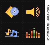 4 universal flat music icons   Shutterstock .eps vector #306629099