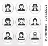 people face set on white round... | Shutterstock .eps vector #306633221