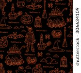 vector hand drawn pattern on... | Shutterstock .eps vector #306634109