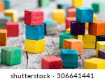 colorful wooden building blocks.... | Shutterstock . vector #306641441