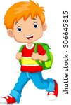 cute boy on his way to school | Shutterstock .eps vector #306645815