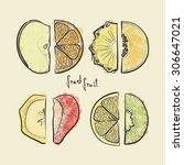 set of sketched fruit slices ... | Shutterstock .eps vector #306647021