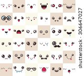 set of cute vector faces ... | Shutterstock .eps vector #306647027