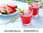 fresh watermelon juice in the... | Shutterstock . vector #306650411