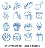 fast food. set of line icons.... | Shutterstock .eps vector #306650891