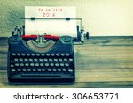 typewriter with white paper... | Shutterstock . vector #306653771