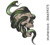 skull with snake illustration | Shutterstock .eps vector #306659375