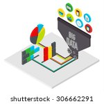 isometric big data analysis... | Shutterstock .eps vector #306662291