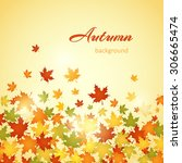 autumn background with leaves.... | Shutterstock .eps vector #306665474