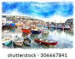 Watercolor Painting Of Boats In ...
