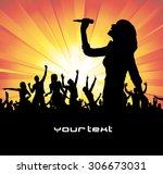 singing girl | Shutterstock .eps vector #306673031