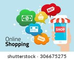 online shopping with smart phone | Shutterstock .eps vector #306675275