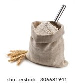 flour in a bag and spikelets... | Shutterstock . vector #306681941
