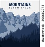 vector vintage mountains poster | Shutterstock .eps vector #306682775