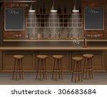 Stock vector bar cafe beer cafeteria counter desk interior vector 306683684