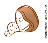 mother with her baby ... | Shutterstock .eps vector #306696245