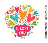 romantic print with hearts and... | Shutterstock .eps vector #306698741
