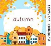 autumn cityscape with deciduous