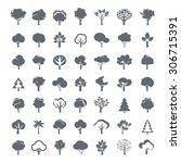 set of grey trees. vector... | Shutterstock .eps vector #306715391