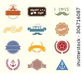 new vector set of ribbon design.... | Shutterstock .eps vector #306716087