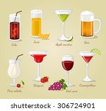 cocktails and drinks vector... | Shutterstock .eps vector #306724901