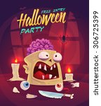zombie with brain. horror set.... | Shutterstock .eps vector #306725399