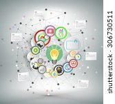 infographic network with icons... | Shutterstock .eps vector #306730511