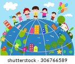 children and globe | Shutterstock .eps vector #306766589