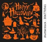 icon set for halloweenon black... | Shutterstock .eps vector #306770561