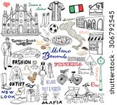 italy  milan hand drawn set.... | Shutterstock .eps vector #306792545