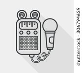 toy microphone flat icon with...