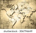 world map on a technological... | Shutterstock . vector #306796649