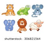 cute cartoon animals isolated... | Shutterstock .eps vector #306821564