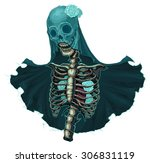 skeleton with veil and white... | Shutterstock .eps vector #306831119